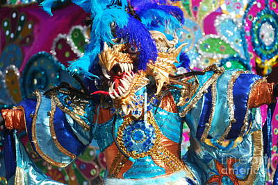 Photograph - Blue Feather Carnival Costume And Colorful Background Horizontal by Heather Kirk
