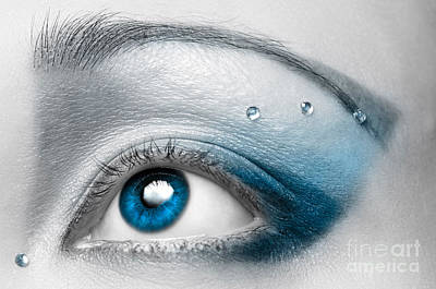 Female Photograph - Blue Female Eye Macro With Artistic Make-up by Oleksiy Maksymenko