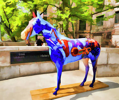 Horse Display Painting - Blue Fiberglass Horse  by Lanjee Chee