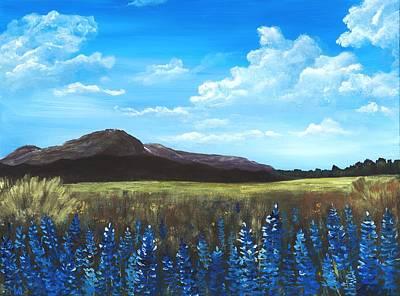 Mountain Painting - Blue Field by Anastasiya Malakhova