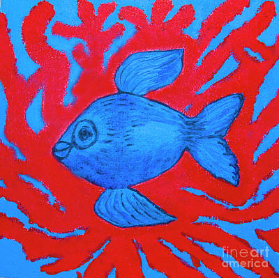 Painting - Blue Fish And Red Corals, Painting by Irina Afonskaya
