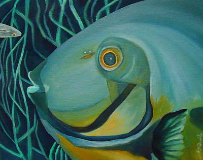 Tropical Fish Painting - Blue Fish by Angeles M Pomata