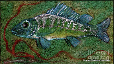 Folkartanna Painting - Blue Fish by Anna Folkartanna Maciejewska-Dyba