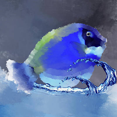 Tropical Fish Digital Art - Blue Fish by Art Spectrum