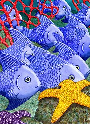 Coral Painting - Blue Fish by Catherine G McElroy