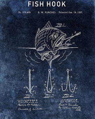 Animals Drawings - Blue Fish Hook Patent by Dan Sproul