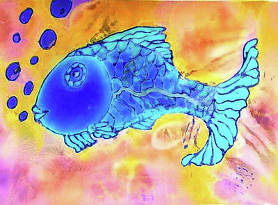 Digital Art - Blue Fish by Rae Chichilnitsky