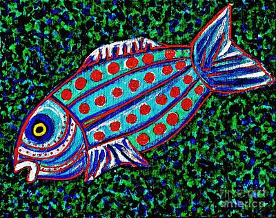 Fanciful Painting - Blue Fish by Sarah Loft