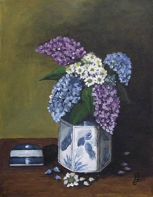 Blue Fish Vase Art Print by Kim Selig
