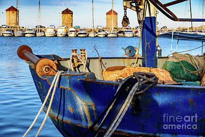 Blue Fishing Boat In Harbor In Rhodes, Greece Art Print