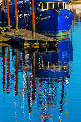 Seagull Photograph - Blue Fishing Boat Reflection by Garry Gay