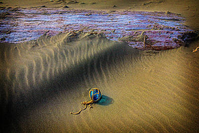Frail Photograph - Blue Fishing Net Float by Garry Gay