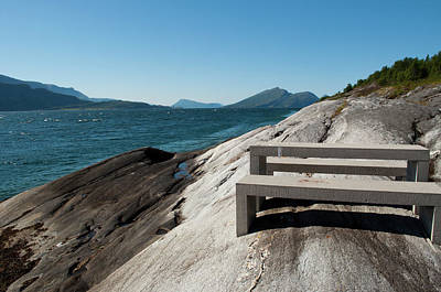 Photograph - blue fjord view in the north of Norway by Tamara Sushko