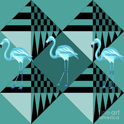 Geometric Animal Digital Art - Blue Flamingo by Mark Ashkenazi