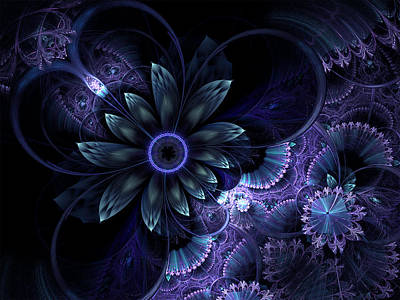 Digital Art - Blue Fleur And Lace by Barbara A Lane