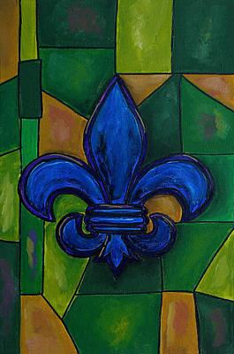 Painting - Blue Fleur De Lis by Patti Schermerhorn
