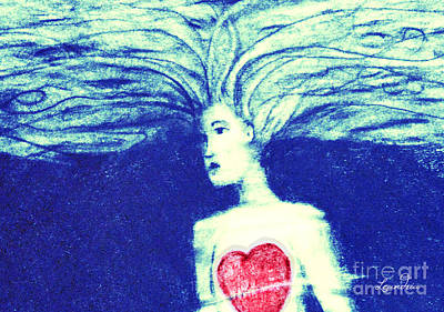 Digital Art - Blue Floating Heart by Leandria Goodman