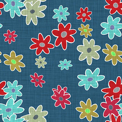 Digital Art - Blue Floral Cloth Modern Decor Design by Georgiana Romanovna