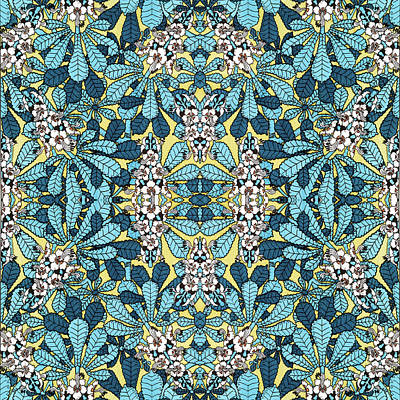 Mixed Media - Blue Floral Leaf Pattern by Christina Rollo