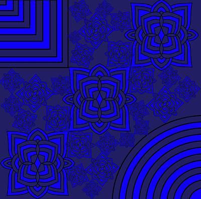 Painting - Blue Floral Patterns by Pratyasha Nithin