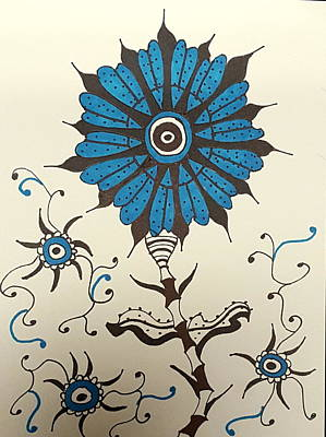 Drawing - Blue Flower 1 by Steven Stutz