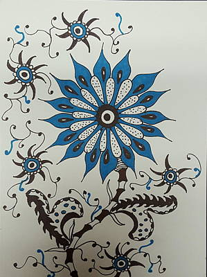 Drawing - Blue Flower 3 by Steven Stutz