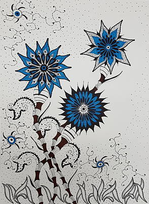 Drawing - Blue Flower 4 by Steven Stutz