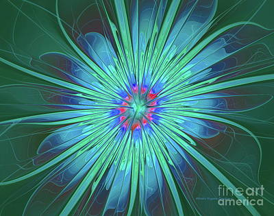 Digital Art - Blue Flower Abstract by Deborah Benoit