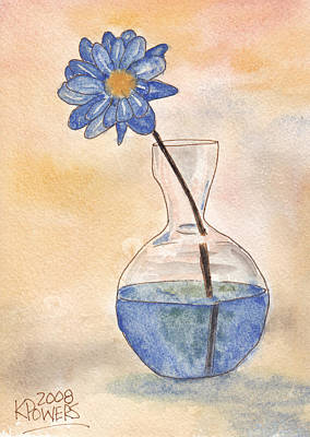 Blue Flower And Glass Vase Sketch Art Print by Ken Powers