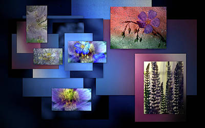 Blue Flower Collage Art Print