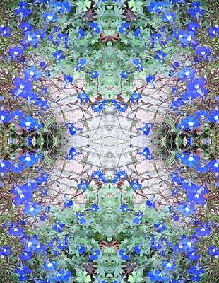 Photograph - Blue Flower Crystal Wings Fractal B by Julia Woodman