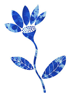 Graphical Painting - Blue Flower by Frank Tschakert
