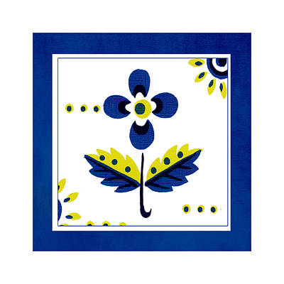 Blue Flower Illustration Art Print