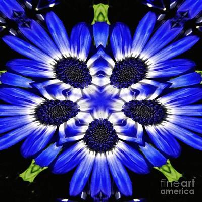 Digital Art - Blue Flower Kaleidoscope by D Hackett
