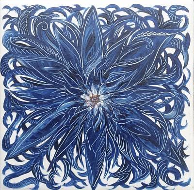 Blue Flower  Original by Karen Doyle