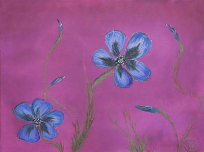 Painting - Blue Flower Magenta Background by Stephen Daddona