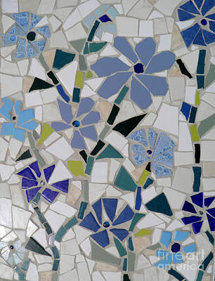 Mixed Media - Blue Flower Mosaic 2 by Lou Ann Bagnall