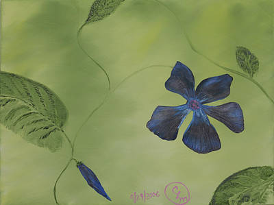 Painting - Blue Flower On A Vine by Stephen Daddona