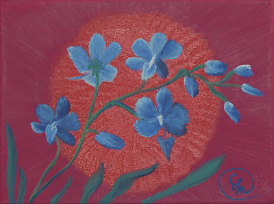Painting - Blue Flower On Magenta by Stephen Daddona