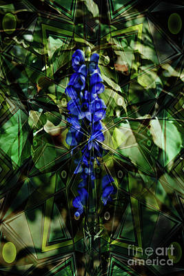 Digital Art - Blue Flower Patterns by Donna L Munro