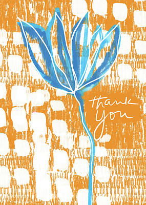 Blue Flower Thank You- Art By Linda Woods Art Print by Linda Woods