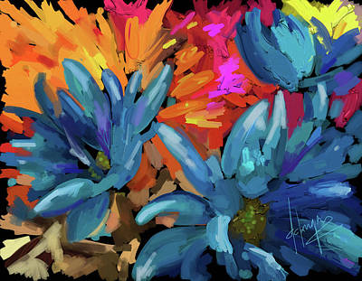 Art Print featuring the painting Blue Flowers 2 by DC Langer