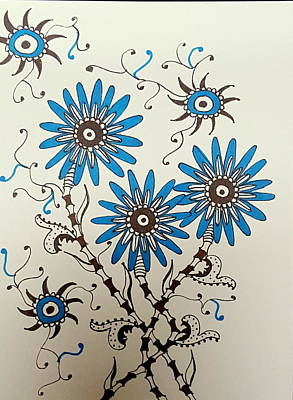 Drawing - Blue Flowers 2 by Steven Stutz