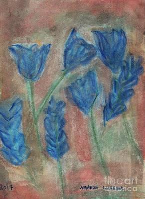Blue Flowers Art Print by Amanda Currier
