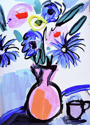 Blue Flowers And Coffee Cup Art Print