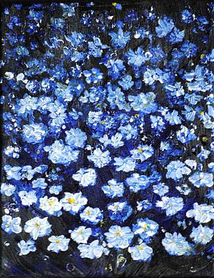 Art Print featuring the painting Blue Flowers by Evelina Popilian