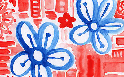 Painting - Blue Flowers- Floral Painting by Linda Woods