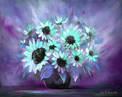 Lovely Lavender - Blue  Flowers in a Vase Still Life by Gina De Gorna