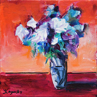 Blue Flowers In A Vase Original by Yulia Kazansky