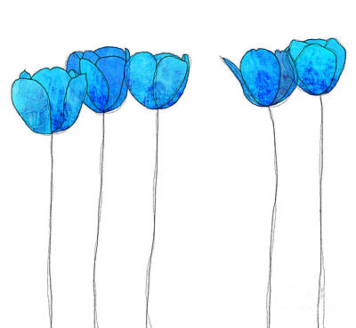 In A Row Drawing - Blue Flowers by J Ripley Fagence